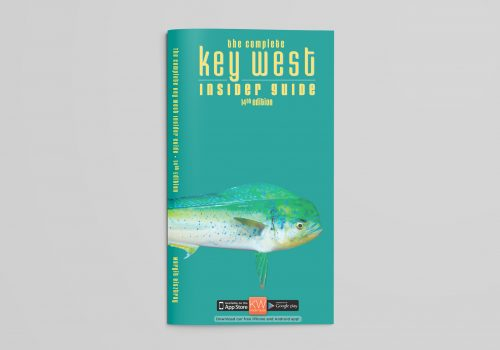 Book Cover Of Key West Insider Guide, Aqua Background With Fish.